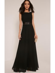 Pretty Little Thing Caitlan Black Lace Insert Maxi Dress-10, Black