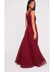 Pretty Little Thing Caitlan Burgundy Lace Insert Maxi Dress - 12, Red
