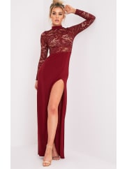 Pretty Little Thing Maisie Oxblood Lace Top Split Side Maxi Dress - 10, Red