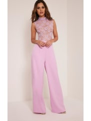 Pretty Little Thing Miley Lilac Sleeveless Lace Top Jumpsuit - 12, Purple