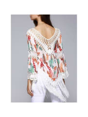 Rosewholesale Ethnic Crochet Flare Sleeve Feather Print Blouse For Women