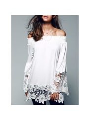 Rosewholesale Off The Shoulder Lace Splicing Blouse