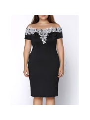 Rosewholesale Stylish Plus Size Off The Shoulder Crochet Short Sleeve Dress For Women