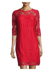 Taylor 3/4-Sleeve Lace Shift Dress, Red