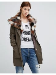 Urban Code Parka With Patchwork Faux Fur Hood - Green