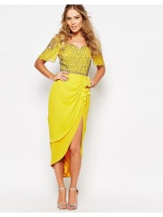 Virgos Lounge Laila Embellished Midi Dress With Thigh Split - Light yellow/multi