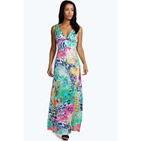 Boohoo Tropical Slinky Maxi Dress multi