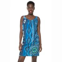 Desigual Kleid Vest Magic Blue, ärmellos, A-Linie