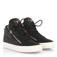 Giuseppe Zanotti Sneakers High May London Leder schwarz Krokodilprägung