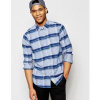 Hollister Camicia slim fit in lino blu navy a scacchi - Blu navy