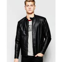 Jack & Jones Faux Leather Jacket with Quilted Sleeves - Black