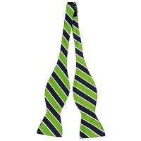Notch Bow tie untied from Tieroom, Notch Alfons, has got a mixture of stripes in navy, bright green & white