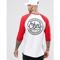 Obey Raglan 3/4 Length T-Shirt With Back Print