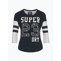 Superdry Damen Shirt - Football Lace Emboridery Top - blau