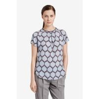 Windsor Top mit Ikat-Muster in Hellblau/Taupe