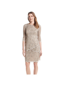 Alex Evenings Lace And Glitter Shift Dress