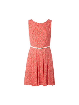 Apricot Kleid mit Punktemuster