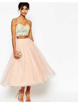 Asos Tulle Prom Skirt with Multi Layers - Nude