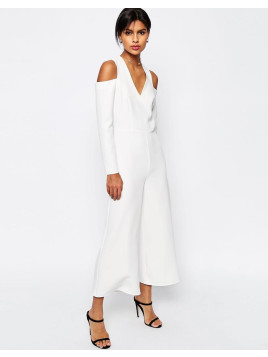 Asos Jumpsuit With Cut Out Shoulder - White