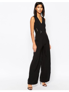Asos Premium Belted Jumpsuit with Cut Out - Black