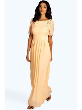 Boohoo Boutique Embellished Maxi Dress peach