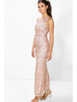 Boohoo Cher All Over Embellished Maxi Dress pink