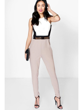 Boohoo Colour Block Belted Jumpsuit stone