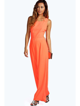 Boohoo Louisa Cut Out Back Detail One Piece orange