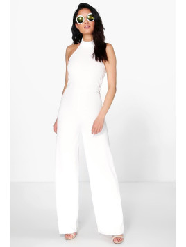 Boohoo High Neck Cropped Leg Jumpsuit ivory