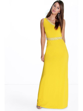 Boohoo One Shoulder Embellished Maxi Dress yellow