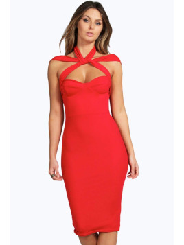 Boohoo Strappy Top Detail Midi Bodycon Dress red