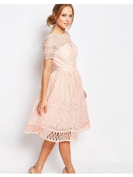 Chi Chi London Premium Lace Dress with Cutwork Detail and Cap Sleeve - Nude