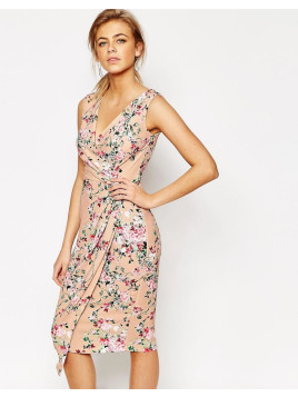 Closet Closet Midi Dress in Floral Print with Wrap Front - Multi floral