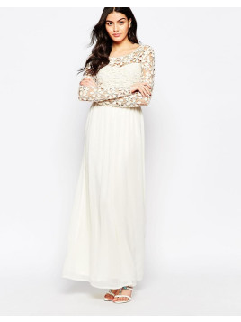 Club L Occasion Crochet Maxi Dress With Long Sleeves - Cream