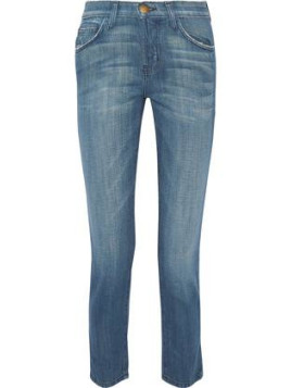 Current Elliott The Vintage Cropped High-rise Straight-leg Jeans - Mid denim