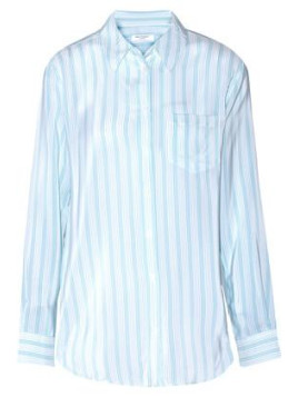 Equipment Reese Striped Washed-silk Top - Sky blue