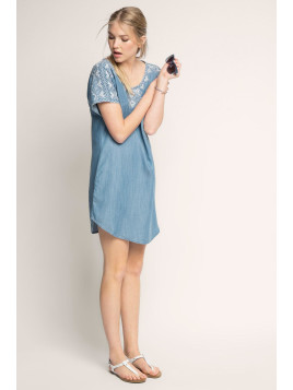 Esprit Fließendes Tunika-Kleid im Denim-Look für Damen Blue Light Washed