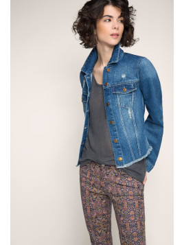 Esprit Used Look Jeansjacke für Damen Blue Medium Washed