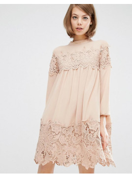 Fashion Union Long Sleeve Smock Dress With Lace Inserts - Nude