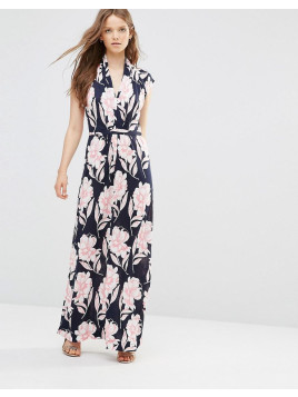 French Connection Maxi Dress in Floral Print - Blue
