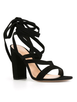 Gianvito Rossi Janis sandals, Womens, Size: 40, Black, Leather/Suede