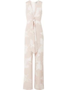 Halston Heritage Printed Stretch-crepe Jumpsuit - White