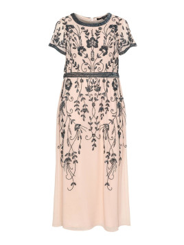 House of Magpie Plus Size Embroidered chiffon evening dress