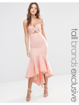 Jarlo Bandeau Cutout Midi Dress With Fishtail Detail - Nude