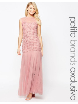 John Zack Maxi Dress With 3D Floral Bodice And Tulle Skirt - Rose
