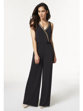 Justfab Justfab Jumpsuit & Rompers Embellished Wrap Front Jumpsuit Womens Black Size XS