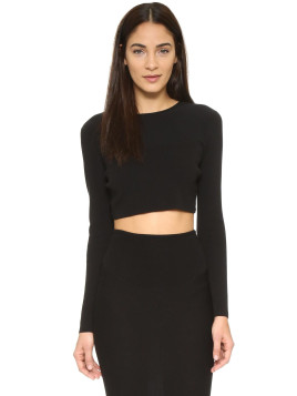Kendall + Kylie Kendall + Kylie Knit Crop Sweater - Black