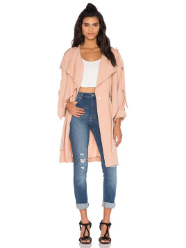 Kendall + Kylie Lightweight Trench Coat in Beige