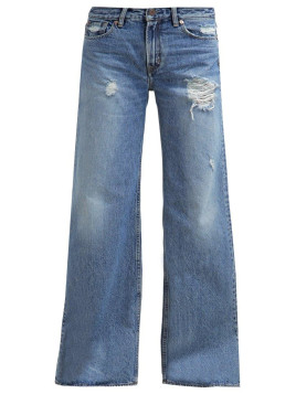 Kings of Indigo JANE Flared Jeans blue marble lasered
