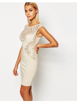 Lipsy Flat Sequin Bodycon Dress - Nude sequin